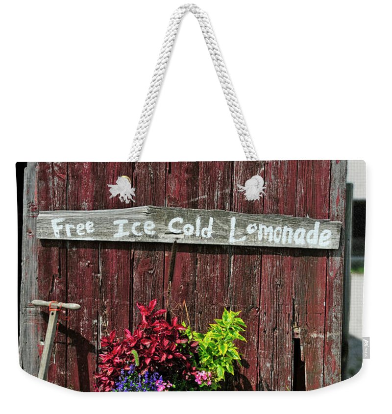 Sign Weekender Tote Bag featuring the photograph Where Is The Lemonade by David Arment
