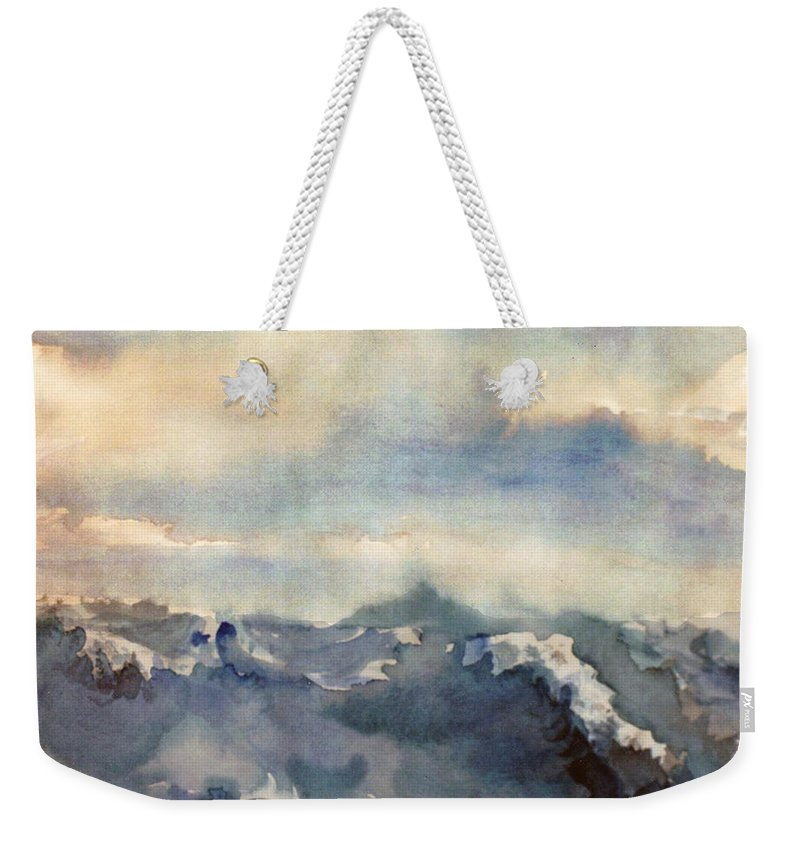 Seascape Weekender Tote Bag featuring the painting Where Sky Meets Ocean by Steve Karol