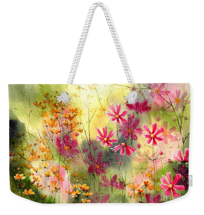 Pink Weekender Tote Bag featuring the painting Where The Pink Flowers Grow by Suzann Sines