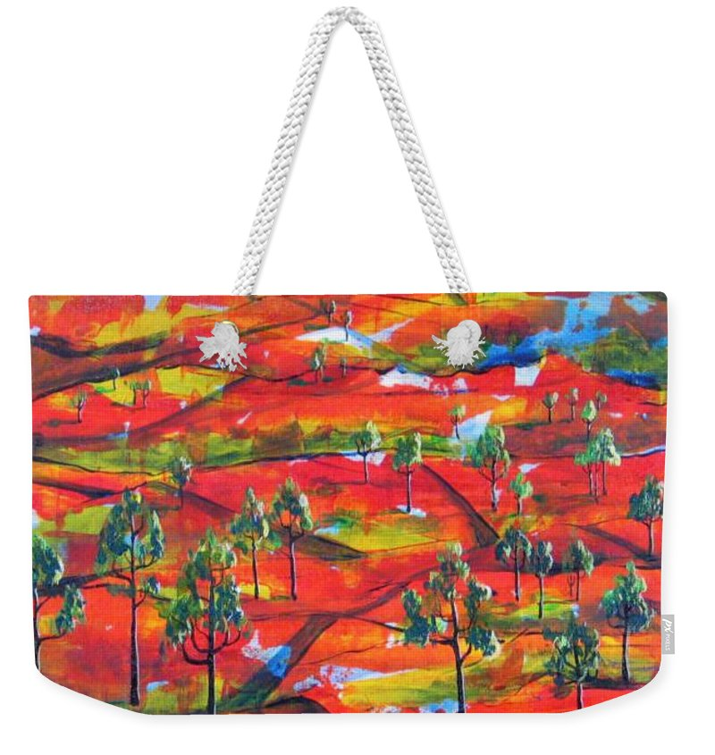 Landscape Weekender Tote Bag featuring the painting Where The Road Goes   by Rollin Kocsis