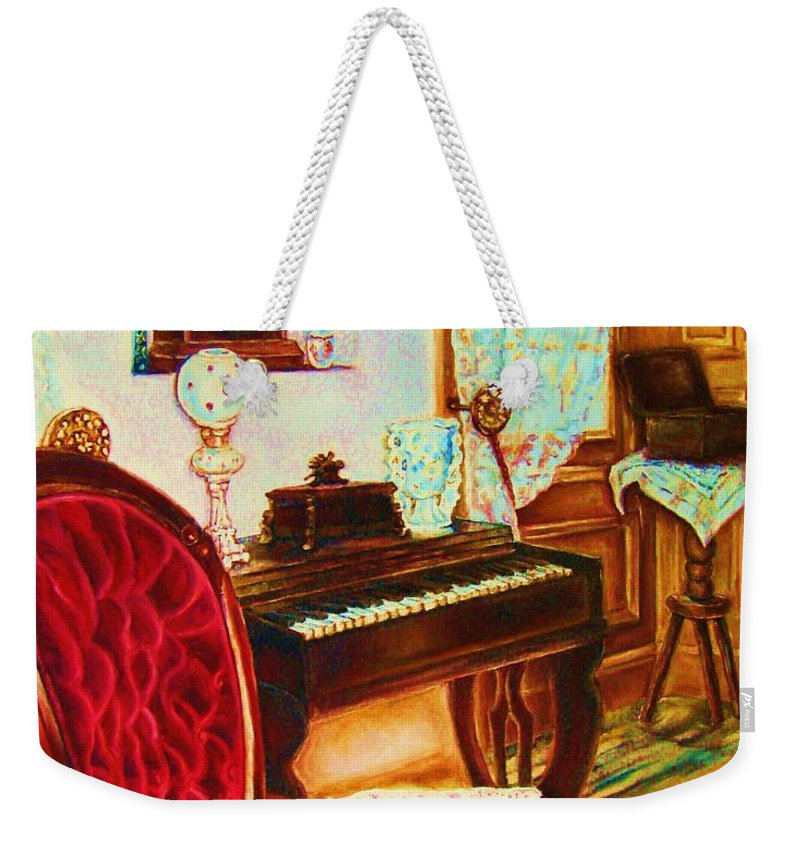 Prayer Room Weekender Tote Bag featuring the painting Where Time Stands Still by Carole Spandau