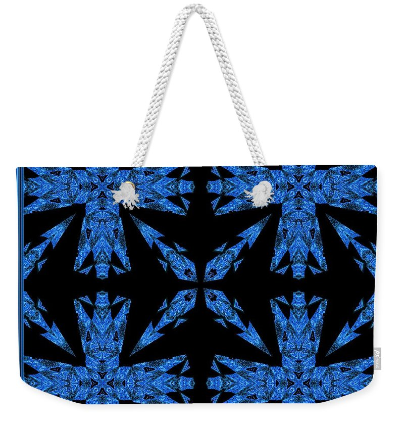 Blue Weekender Tote Bag featuring the digital art Which Way Did They Go by Debra Lynch