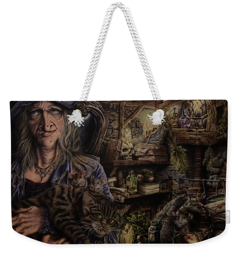 Fantasy Weekender Tote Bag featuring the painting Which witch is which by Robert Haasdijk
