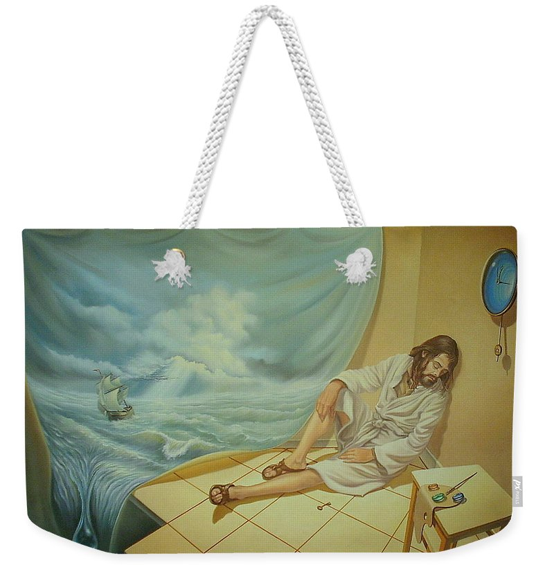 Art Oil Canvas Religion World End Drop Creator Painter Weekender Tote Bag featuring the painting While The Master Is Sleeping by Gyuri Lohmuller