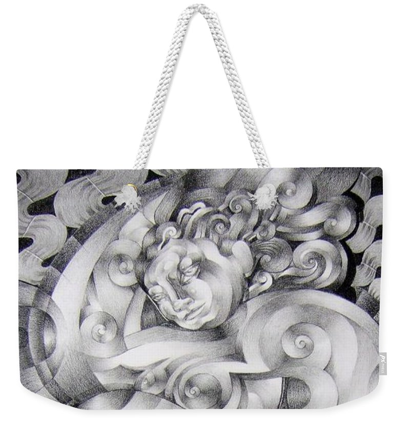 Art Weekender Tote Bag featuring the drawing Whim by Myron Belfast
