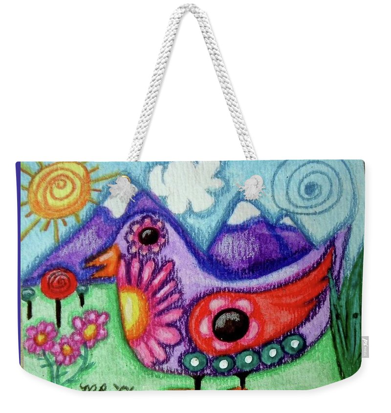 Whimsical Weekender Tote Bag featuring the painting Whimsical Bird by Monica Resinger