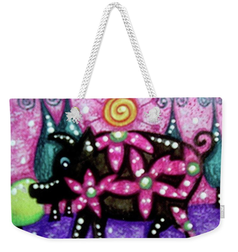 Whimsical Weekender Tote Bag featuring the painting Whimsical Pig by Monica Resinger