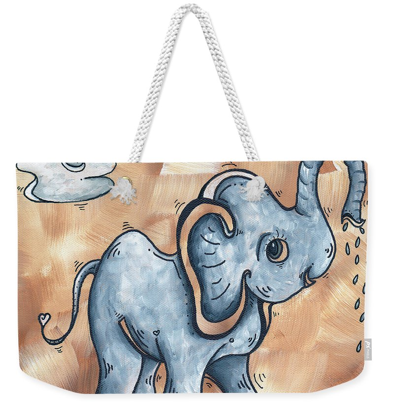 Childrens Weekender Tote Bag featuring the painting Whimsical Pop Art Childrens Nursery Original Elephant Painting Adorable By Madart by Megan Duncanson