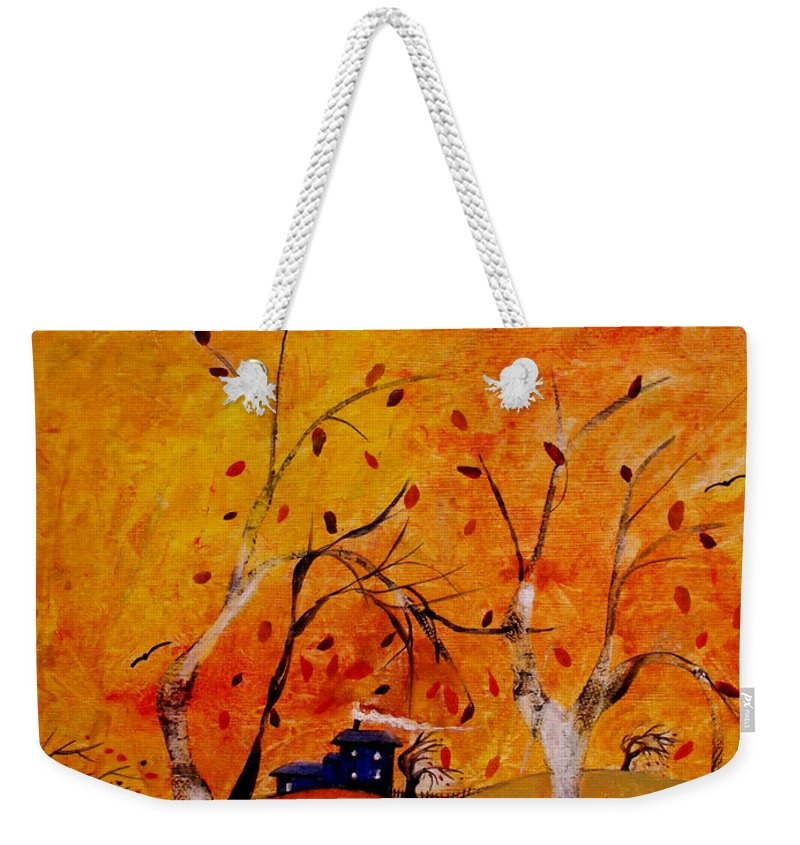 Abstract Weekender Tote Bag featuring the painting Whimsical Wind by Ruth Palmer