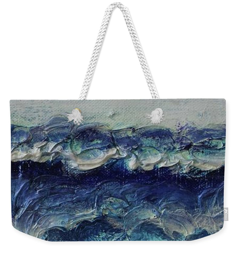 Whipped Cream Weekender Tote Bag featuring the painting Whipped Cream Waves by Kim Nelson