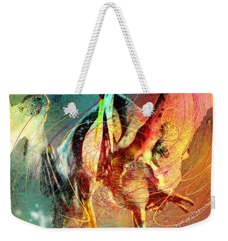 Miki Weekender Tote Bag featuring the painting Whirled In Digital Rainbow by Miki De Goodaboom