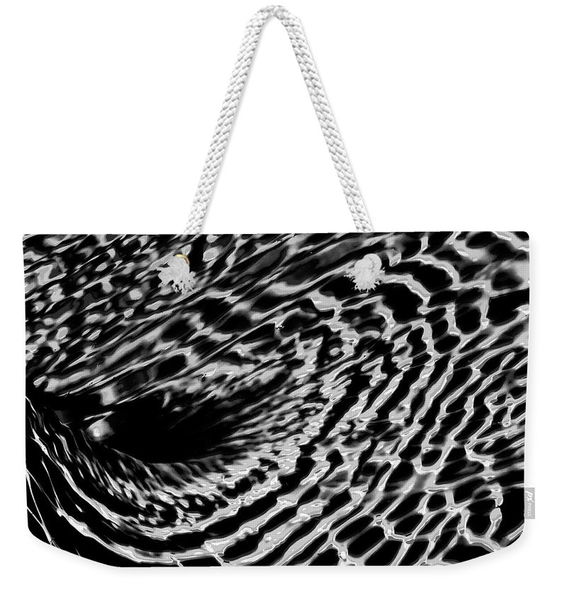Abstract Weekender Tote Bag featuring the photograph Whirlpool Abstract - Bw by Bonnie See
