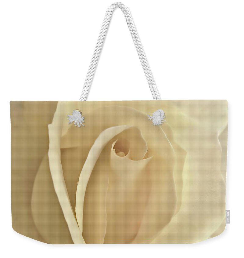 Rose Weekender Tote Bag featuring the photograph Whisper Of A Soft Yellow Rose Flower by Jennie Marie Schell