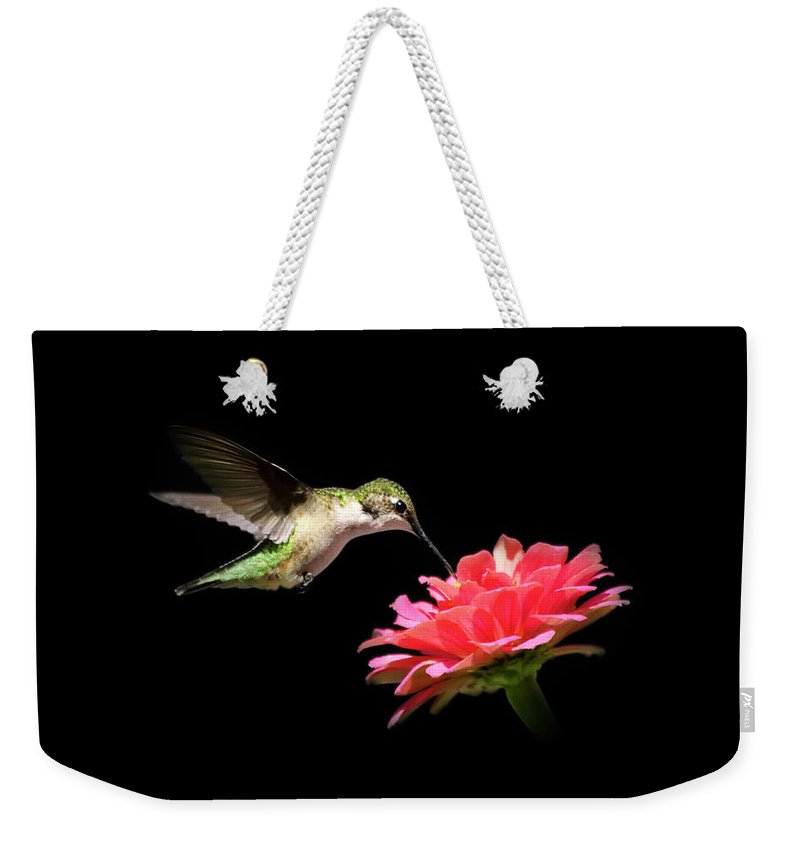 Bird Weekender Tote Bag featuring the photograph Whispering Hummingbird by Christina Rollo