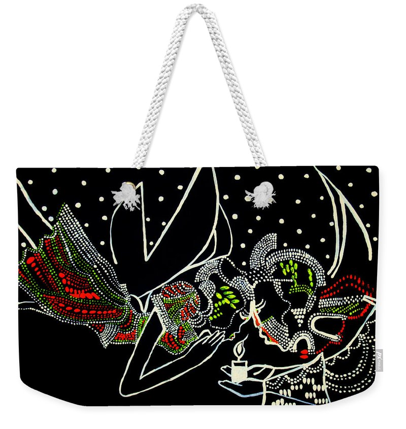 Jesus Weekender Tote Bag featuring the painting Whispers by Gloria Ssali
