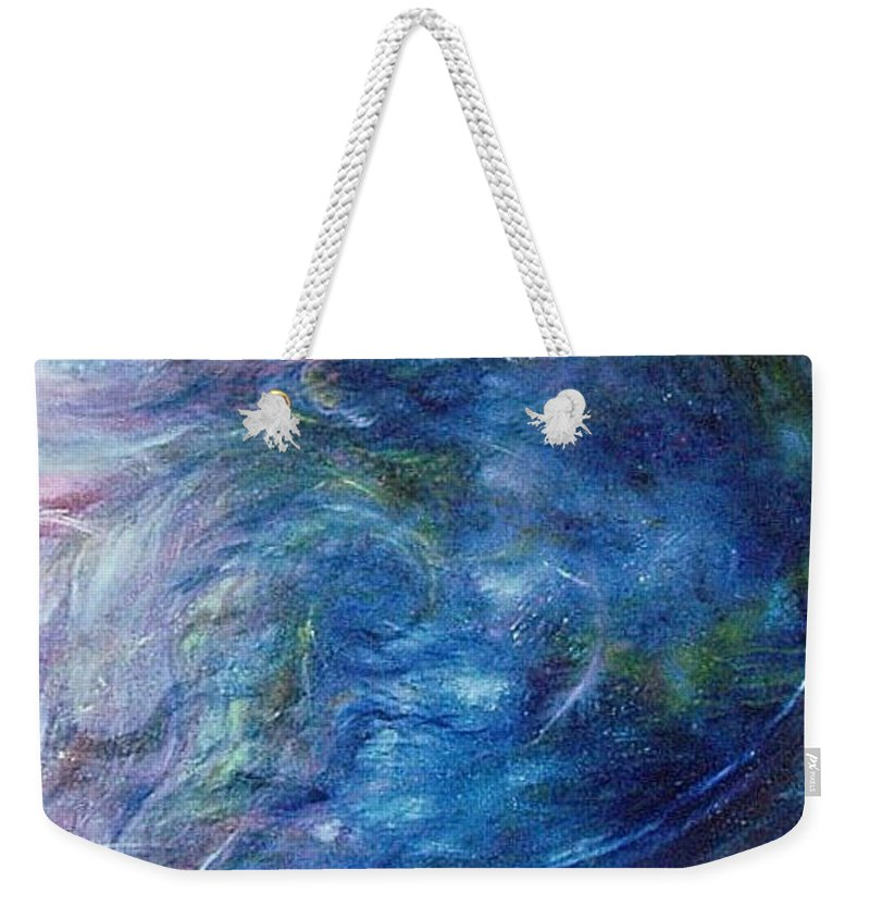 Abstract Weekender Tote Bag featuring the painting Whispers In A Sea Of Blue by Nancy Mueller