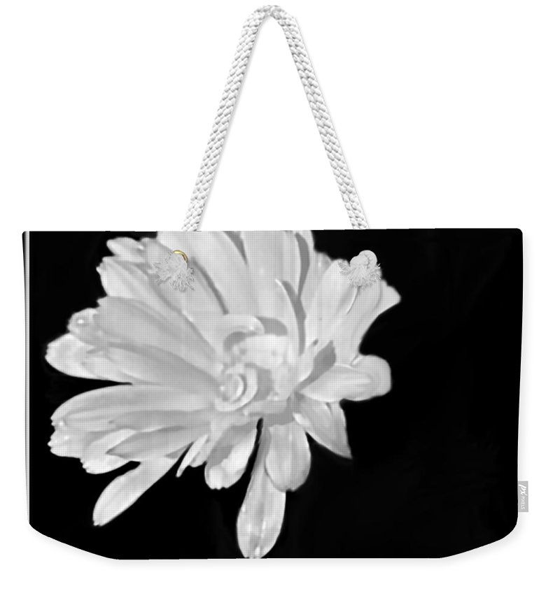 Flower Weekender Tote Bag featuring the mixed media White And Black Flower Painting by Debra Lynch