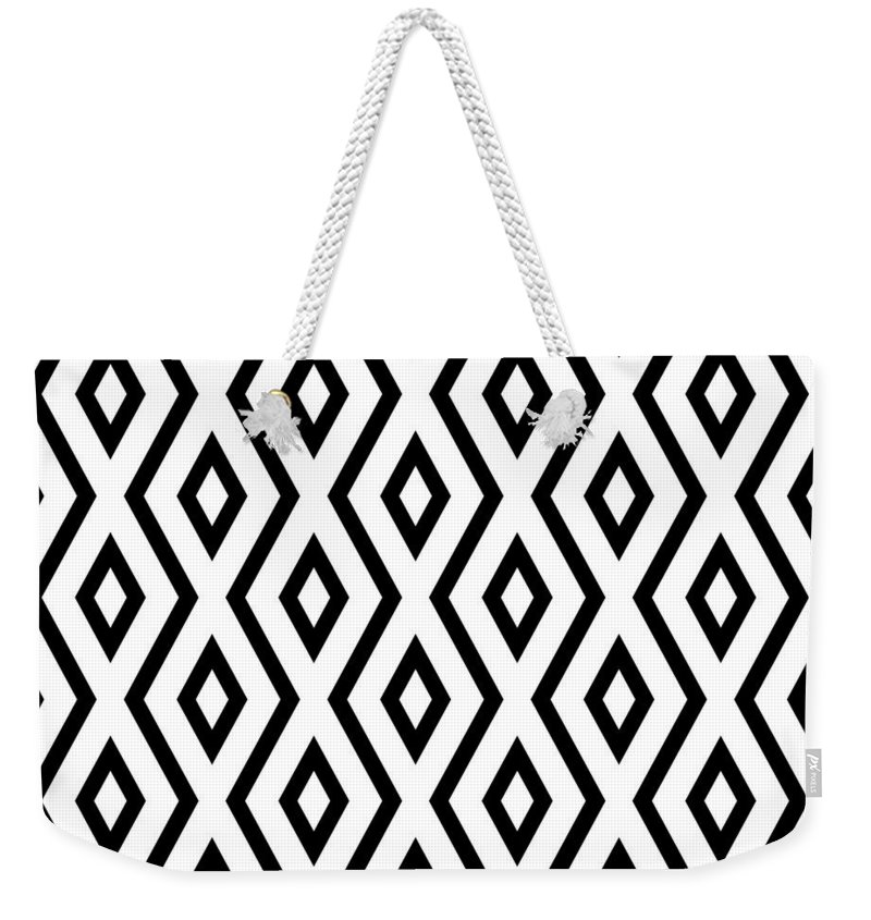 White And Black Weekender Tote Bag featuring the mixed media White and Black Pattern by Christina Rollo
