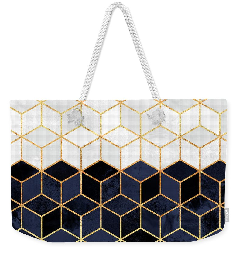 Graphic Weekender Tote Bag featuring the digital art White and navy cubes by Elisabeth Fredriksson