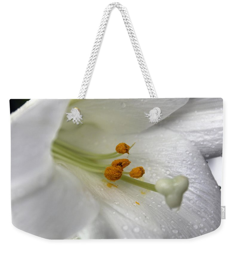 Flower Weekender Tote Bag featuring the photograph White Angel by Munir Alawi