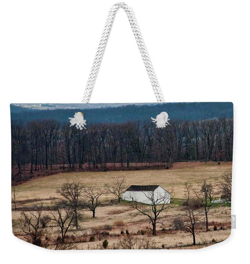 Landscape Weekender Tote Bag featuring the photograph White Barn by David Arment