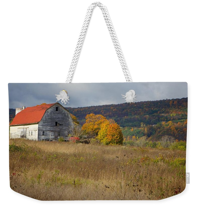 Barn Weekender Tote Bag featuring the photograph White Barn by Michaele Boncaro