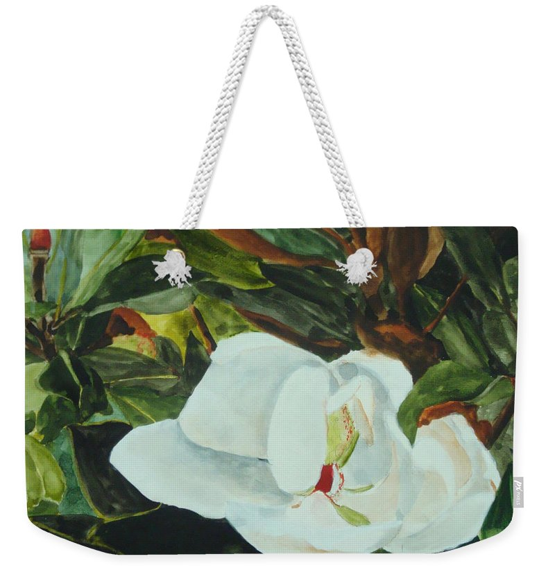 Flower Weekender Tote Bag featuring the painting White Beauty by Jean Blackmer