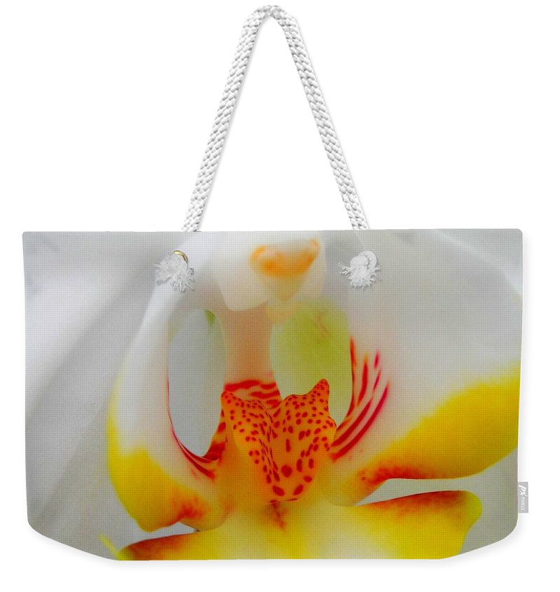 Flower Weekender Tote Bag featuring the photograph White Beauty by Juergen Weiss