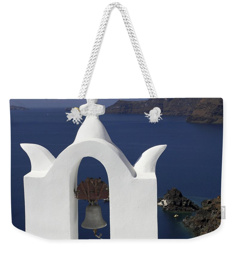 White Bell Tower Weekender Tote Bag featuring the photograph White Bell Tower by Sally Weigand