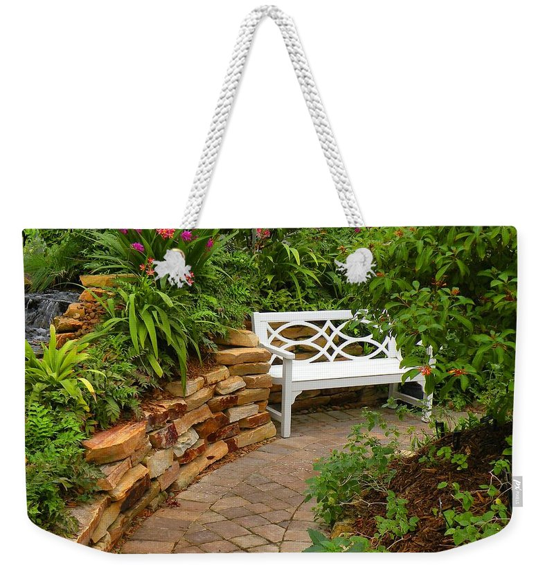 Garden Weekender Tote Bag featuring the photograph White Bench In The Garden by Rosalie Scanlon