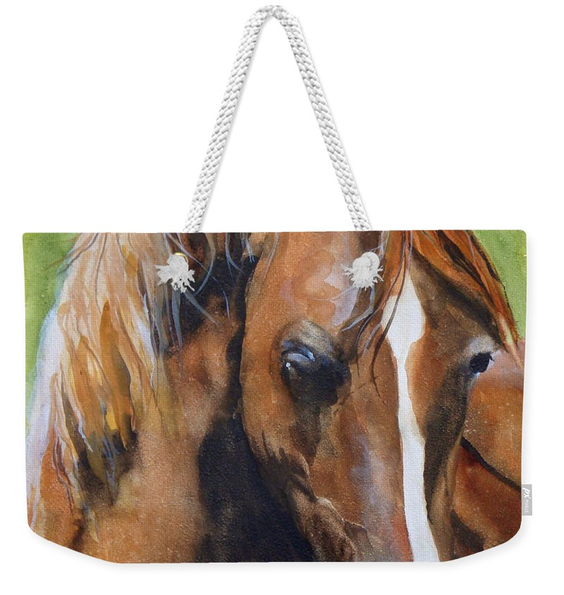 Horse Weekender Tote Bag featuring the painting White Blaze by Jean Blackmer