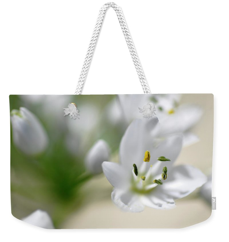 Lachish Weekender Tote Bag featuring the photograph White Blossom 2 by Dubi Roman