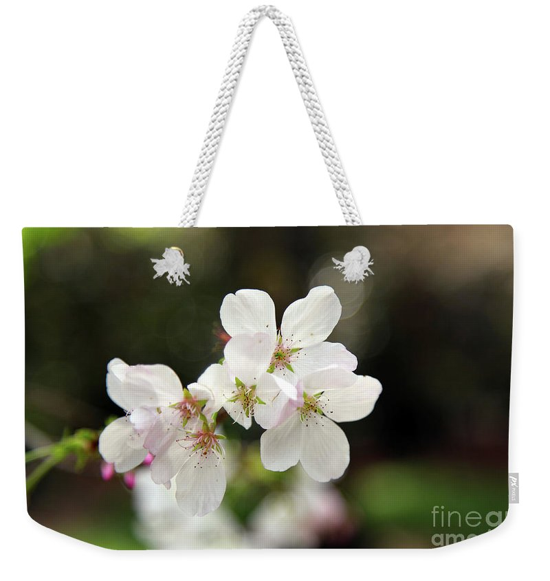 Flowers Weekender Tote Bag featuring the photograph White Blossom by Dean Triolo