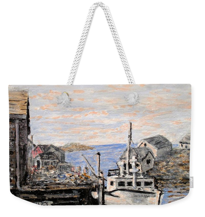 White Weekender Tote Bag featuring the painting White Boat in Peggys Cove Nova Scotia by Ian MacDonald