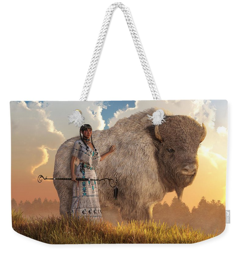 White Buffalo Calf Woman Weekender Tote Bag featuring the digital art White Buffalo Calf Woman by Daniel Eskridge