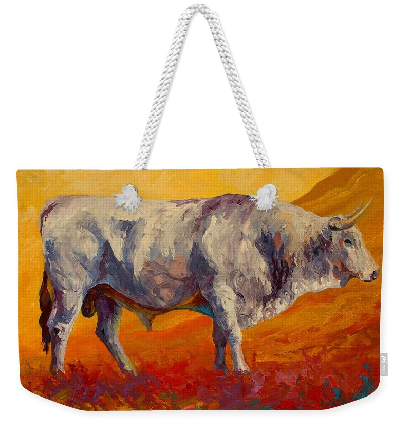 Cows Weekender Tote Bag featuring the painting White Bull by Marion Rose