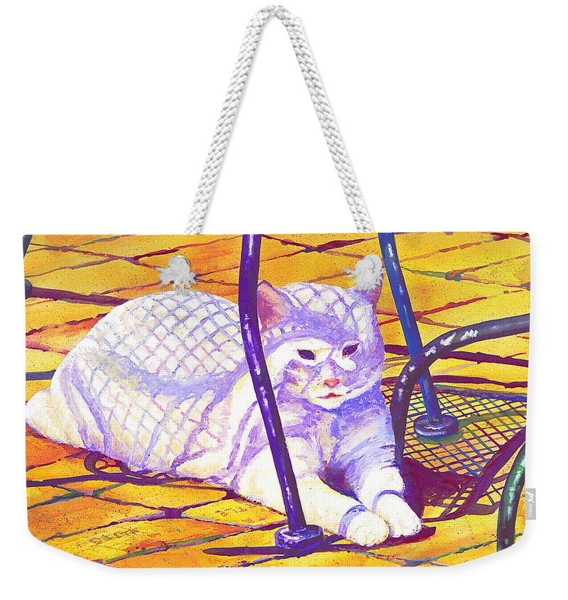 Cat Weekender Tote Bag featuring the painting White Cat On Patio by Connie Williams