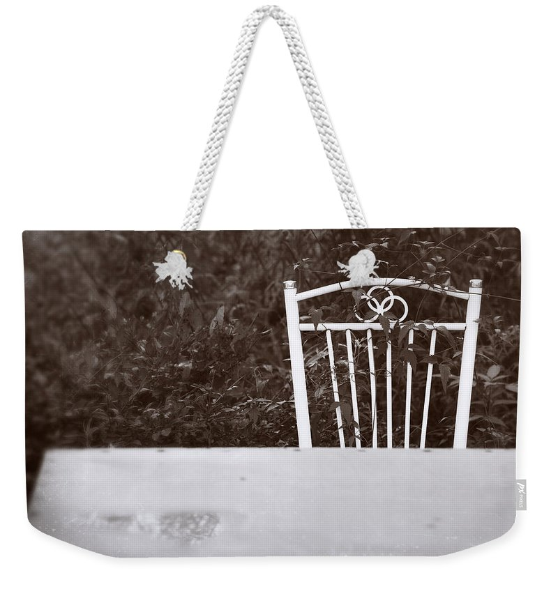 Ancient Weekender Tote Bag featuring the photograph White Chair #0626 by Andrey Godyaykin
