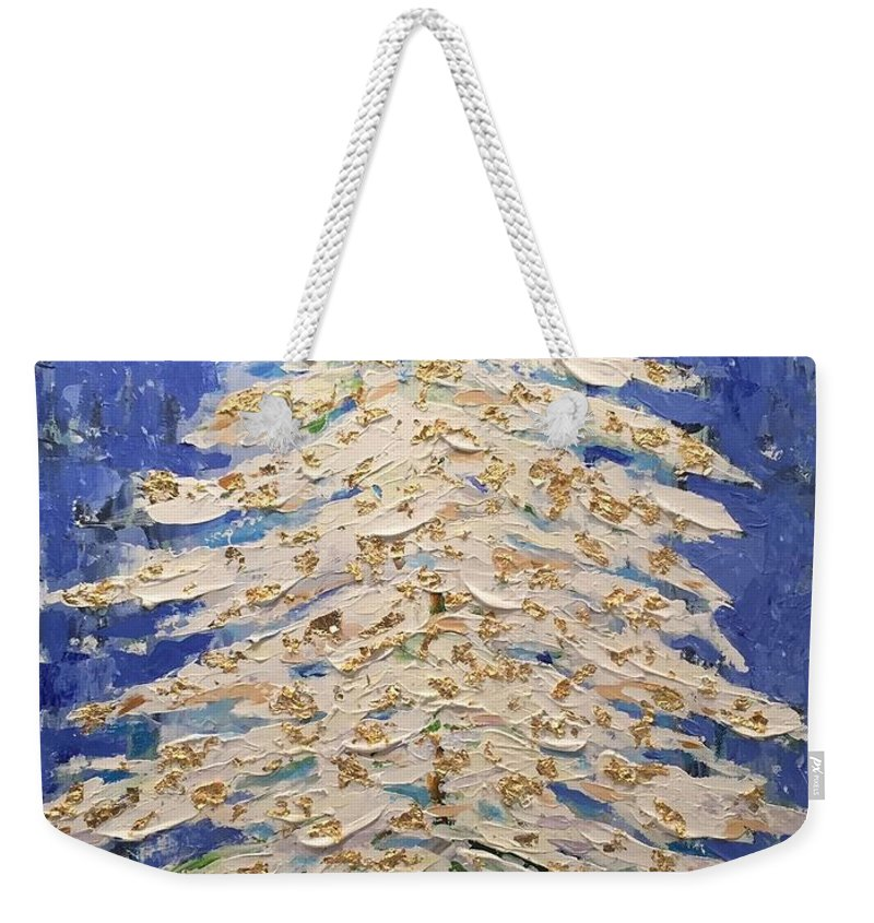 Christmas Weekender Tote Bag featuring the painting White Christmas Tree by Glenda Grubbs