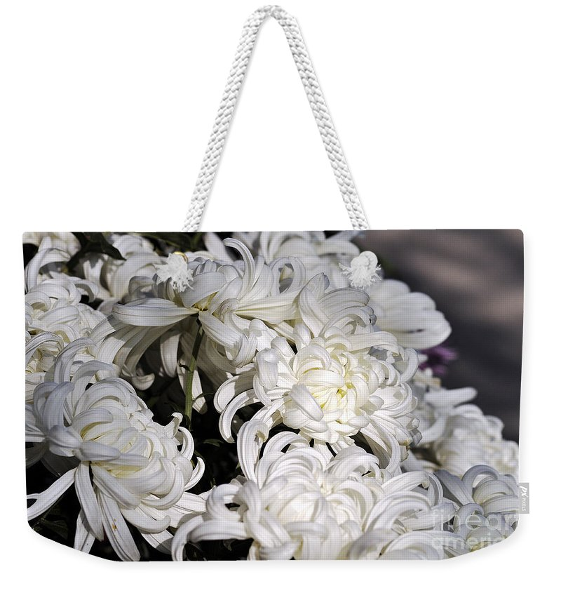 Clay Weekender Tote Bag featuring the photograph White Chrysanthemum by Clayton Bruster