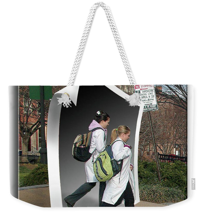 2d Weekender Tote Bag featuring the photograph White Coats by Brian Wallace