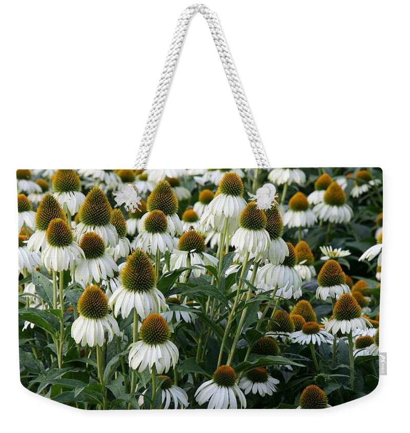White Coneflower Weekender Tote Bag featuring the photograph White Coneflower Field by Christiane Schulze Art And Photography