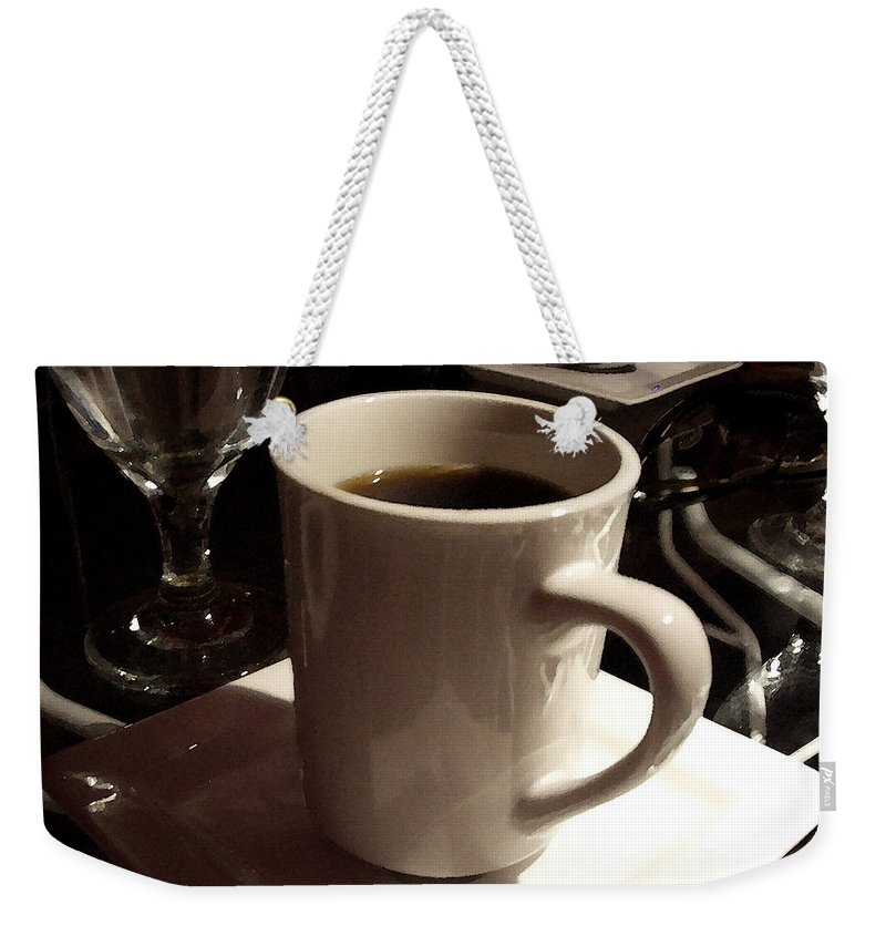 White Weekender Tote Bag featuring the photograph White Cup by Tim Nyberg