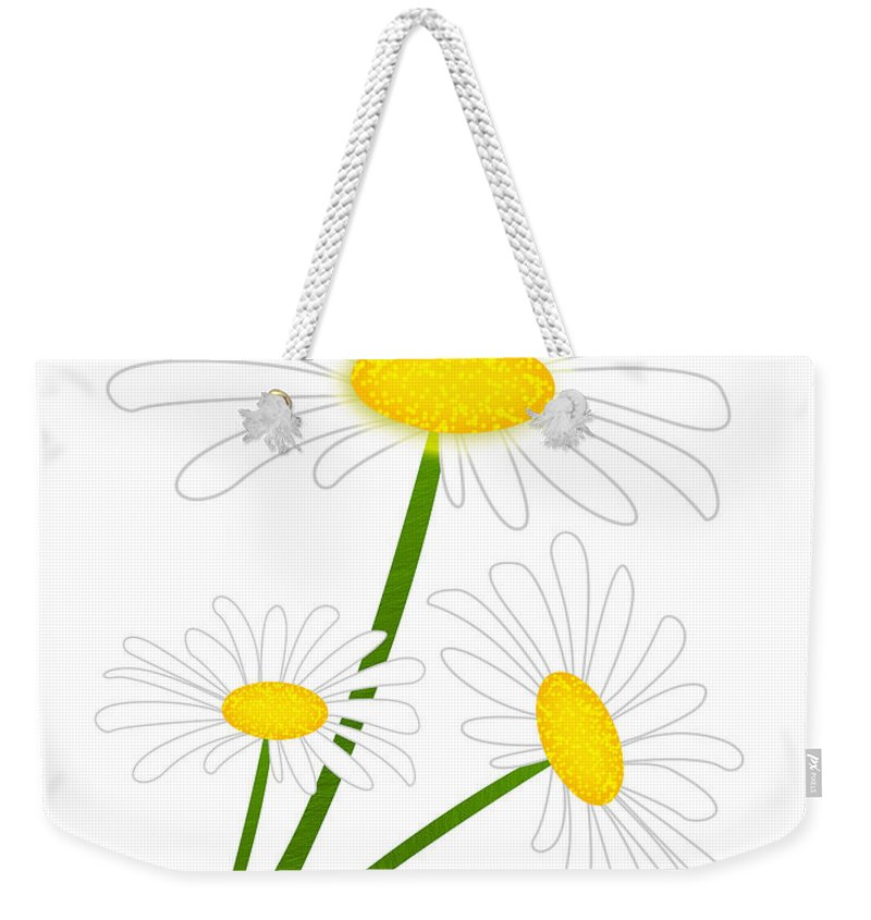 Flower Weekender Tote Bag featuring the digital art White Daisy by Svetlana Sewell