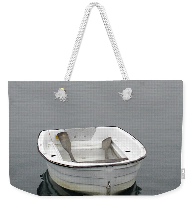 White Weekender Tote Bag featuring the photograph White Dory by Faith Harron Boudreau