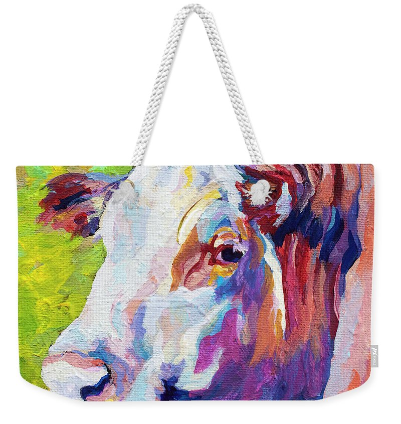 Cows Weekender Tote Bag featuring the painting White Face Cow by Marion Rose