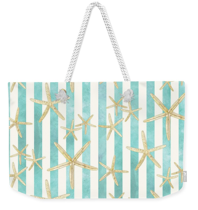 Watercolor Weekender Tote Bag featuring the painting White Finger Starfish Watercolor Stripe Pattern by Audrey Jeanne Roberts