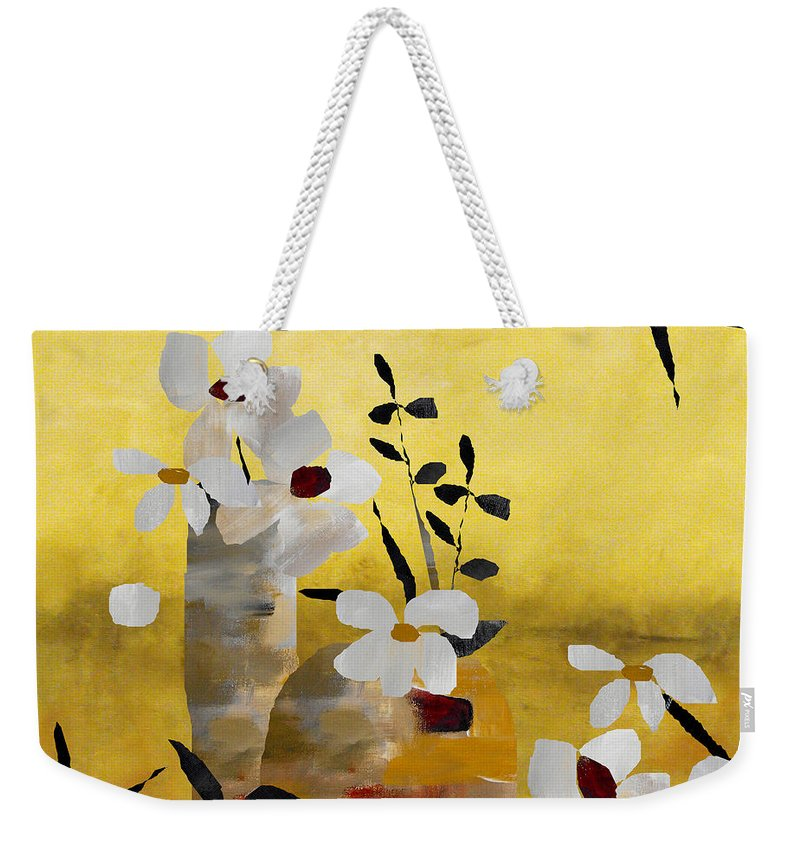Abstract Weekender Tote Bag featuring the painting White Floral Collage II by Ruth Palmer