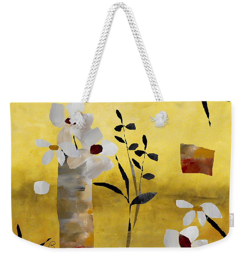 Abstract Weekender Tote Bag featuring the painting White Floral Collage by Ruth Palmer