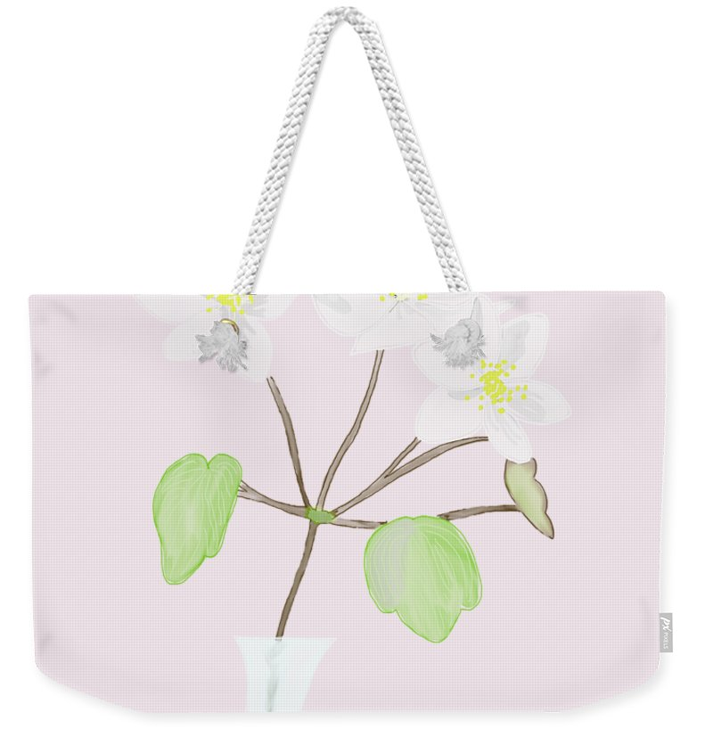 White Floral Weekender Tote Bag featuring the painting Anemones by Priscilla Wolfe